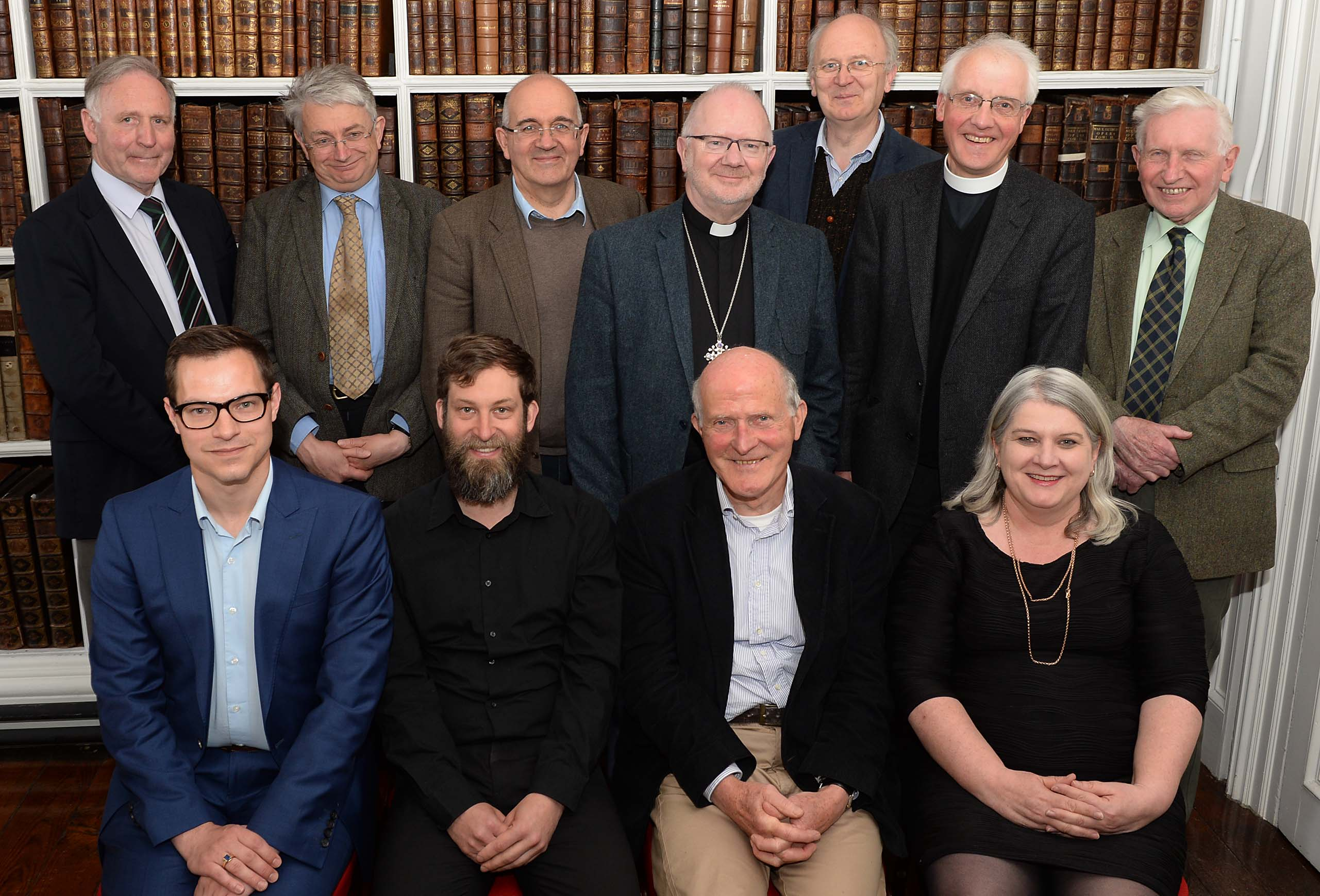 [Back row: from left to right] Dr Adrian Empey, Mr George Woodman, Professor David Hayton, Archbishop Richard Clarke, Mr Brendan Toomey, the Very Revd Gregory Dunstan, Dr Ken Milne [Front row: from left to right] Mr Jeffrey Cox, Dr Immo Warntjes, Professor Padraig O Riain and Dr Ida Milne Photo courtesy of Ian Maginess