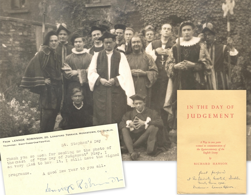 "Items, including a photo of the student cast in costume, relating to the first performance of Richard Hansen's ""In the Day of Judgement"", a two part play produced by Lennox Robinson of the Abbey Theatre and performed in 1944 (MS1043/10.2). During much of Ferrar's time as warden, there was a student play performed around Christmas time each year."