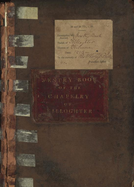 Cover of Killoughter Parish, vestry book (© RCB Library)
