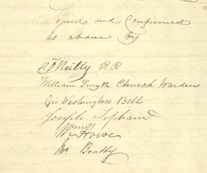 Signature of C O'Reilly, PP at the vestry meeting of May 1841
