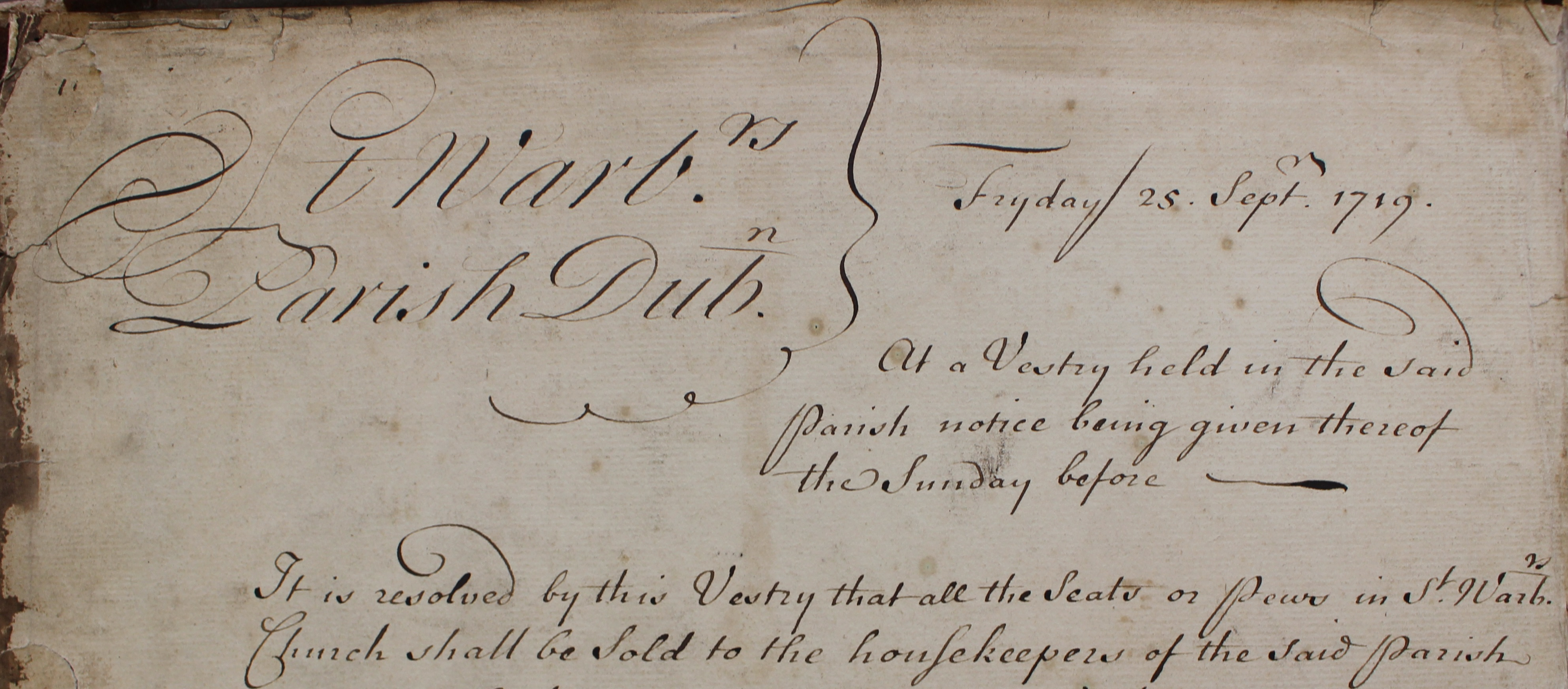 Opening entry in the St Werburgh's parish, Dublin, pew register, commencing on 25th September 1719; RCB Library P326.28.3